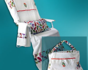 Chair cover that converts to a beach or pool tote bag!   Fits most beach chairs. Includes pillow, pat-dry towel, and 2 storage pockets.