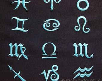 Zodiac signs - machine embroidery designs / Set