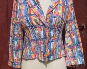 SALE Multicoloured short 1970s  vintage Jacket