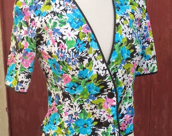 1980s Weill Vivid floral top