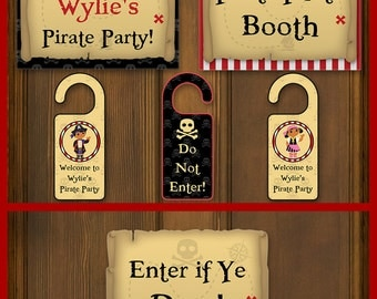 Pirate Party Sign & Door Hanger Birthday Printables - EDITABLE Text - Personalize at Home - INSTANT DOWNLOAD