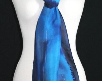 Blue Silk Scarf. Navy Blue Hand Painted Silk Shawl. Handmade Silk Scarf LOVE TIDE. Size 8x54. Birthday, Bridesmaid Gift. Gift-Wrapped.