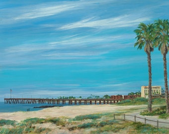 Beach greeting card, Ventura Pier, Morning Stroll from original oil painting by Tina O'brien