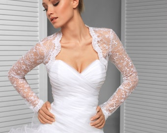 Long sleeve Bridal Wedding Lace Shrug with sequins