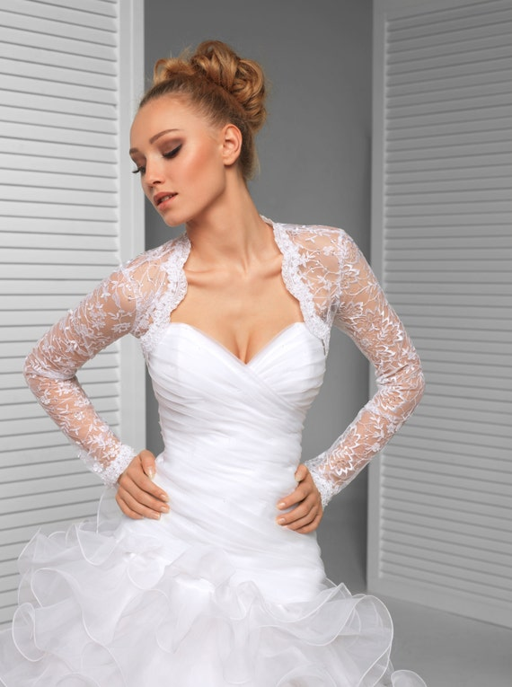 Long sleeve bridal wedding lace shrug with sequins for Lace shrugs for wedding dresses