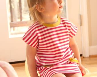 Girl Dress, Handmade Organic Cotton Knit Toddler Girl Pocket Stripe Dress,summer dress,Jersey dress ,Organic girl dress