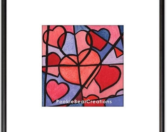 Cubism Cubist Hearts Watercolor Painting Print Pinks, 5 x 5, Nursery and Kids