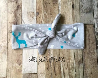 Gray with Teal and White Triangles - Knotted Headband - Baby Head Wrap