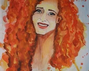 hapiness Woman, Giclee print of original watercolor Abstract Painting, watercolor- woman Painting - Watercolor  Contemporary Art