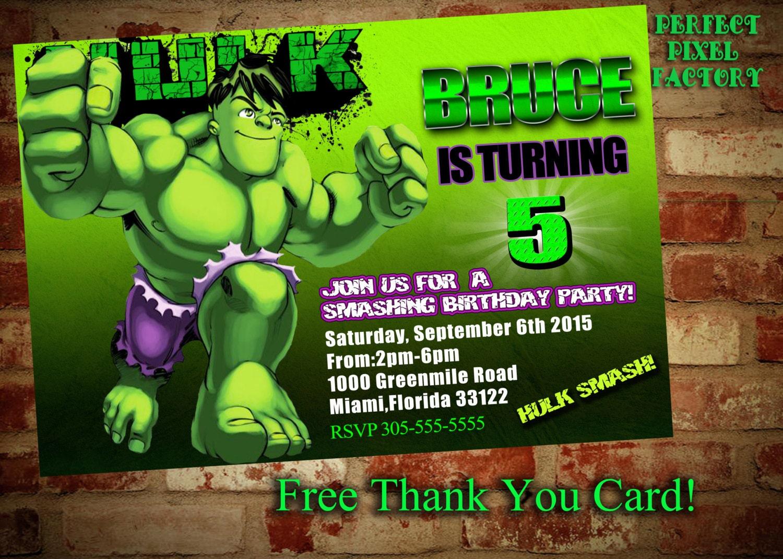 Hulk Birthday Invitationavengers The Incredible Invitations