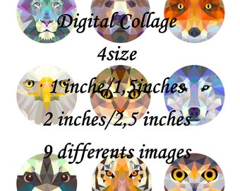 Wild Animals, Digital Collage Sheet, Ready to print, 1/1.5/2 and 2.5 inches Instant Download