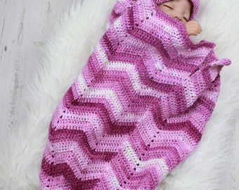 Handmade Rippled Baby Cocoon, Crocheted Cocoon, papoose, baby papoose By ShiFio's Patterns,