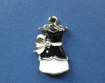 2 Dress Charms - Dress Pendants - Black and White Dress Charm - Enamel Charm and Gold Plated - 25mm x 16mm -- (W8-10801)