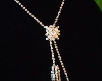 Stunning Vintage Rhinestone Lariat or Tassel Necklace
