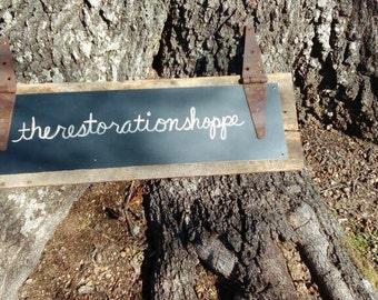 "Reclaimed Barn Wood Chalkboard Sign 33"" (comes w/ box of chalk)"