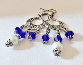 Blue Crystal Earrings Chandelier Earrings Bridesmaid Earrings White Pearl Earrings Vintage Style Bridesmaid Gift Royal Blue Jewelry