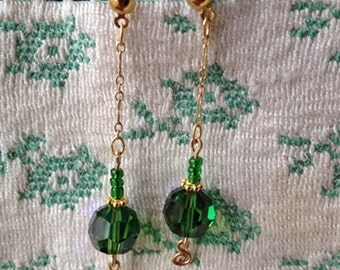 DROP EARRINGS, Green SwarovskiAB Crystals, Gold-Filled Components, Dangle Earrings, Handcrafted, Handmade GF Rosettes, G-Filled Bali Beads