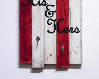 His and Hers Large Towel Rack Robe Rack from Reclaimed Wood