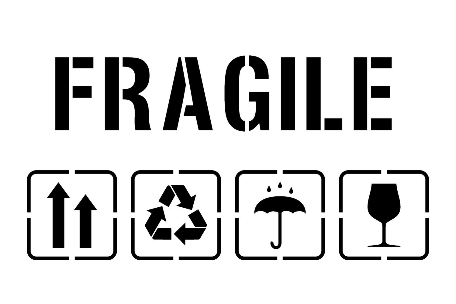 Fragile Symbol FragileTemplate for Laser Cutting-Packaging-(Up ...