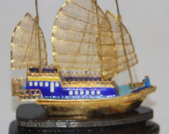 Chinese sterling silver ornamental sailboat, hand-made, on a hardwood stand
