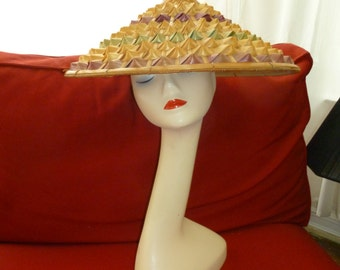 1960s 1970s Vintage Bamboo Conical Hat VLV Tiki