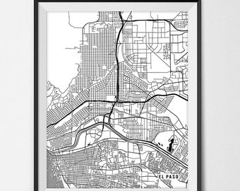 El Paso Map Art Print, El Paso City Map of El Paso Art Poster of Texas State Map, El Paso Wall Art Home Decor