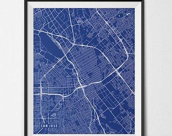 San Jose California State Map Art Print, San Jose State University Map Art SJSU Dorm Decor Graduation Gift San Jose City Map San Jose Art