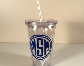 Monogrammed Tumbler with Lid & Straw