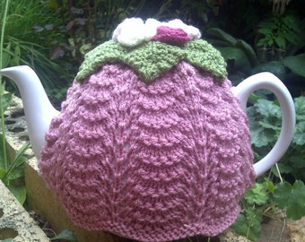 Lovely vintage inspired style Tea Cosy / Cozy. Hand knitted. Pink with Roses. Looks gorgeous on a teapot! Perfect afternoon tea accessory