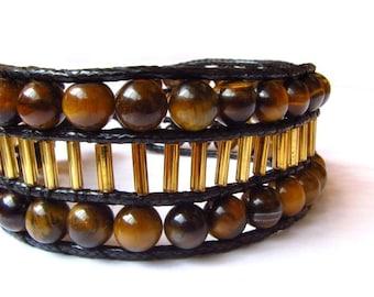 Wide gemstone bracelet tiger-eye stones, bracelet with gem, Chan Luu