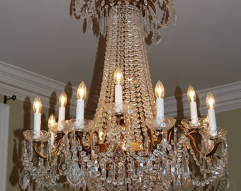 Italian Crystal and tole Empire chandelier……12 lights...heirloom in the making