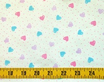 Hearts Cotton Fabric By The Yard, Baby Girl Cotton Fabric, Pink Aqua Lavender Hearts Fabric, Lightweight Cotton Material, b1-009