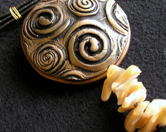 Polymer jewelry necklace Celtic spirals with nacre