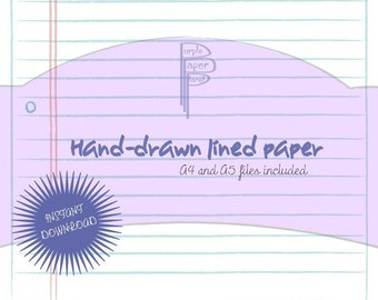 Anthropologie style, hand-drawn lined printable paper A4 and A5 - Instant Download