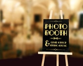 Photobooth printable sign: grab a prop and strike a pose. Gatsby party decoration. Roaring 20s Photo booth. Gatsby wedding photobooth sign