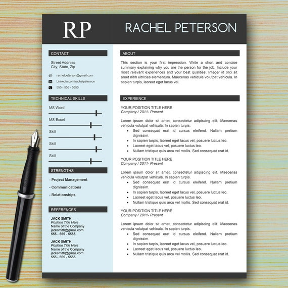 professional one page resume template word cover letter writing tips modern instant download html free html5 cv latex