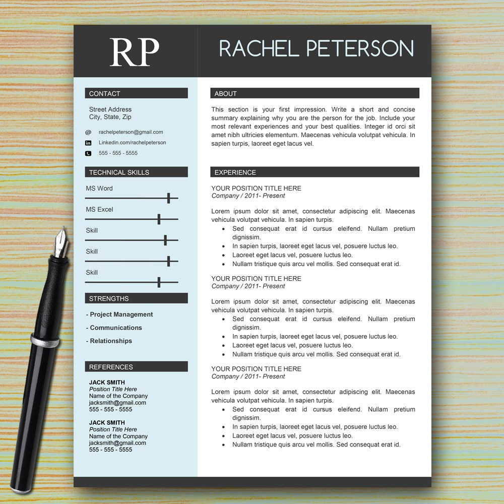 professional one page resume template for microsoft word