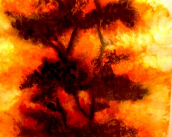"Large Painting Original Watercolor by deaf artist 29"" X 20"" red orange yellow trees landscape nature"