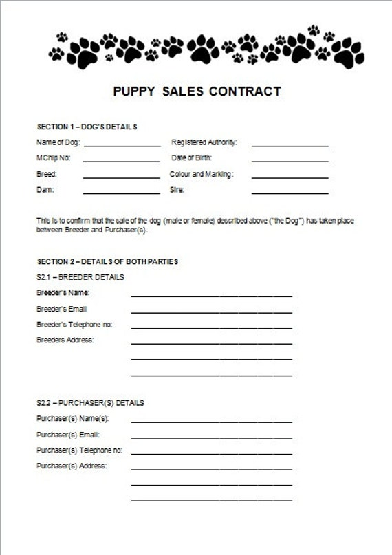 Items Similar To Puppy Sales Contract On Etsy