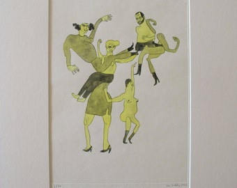Dancing Mob 1 (Hancoloured Drypoint Etching, 2015)