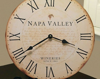 Napa Valley Wineries Antique - Style Clock