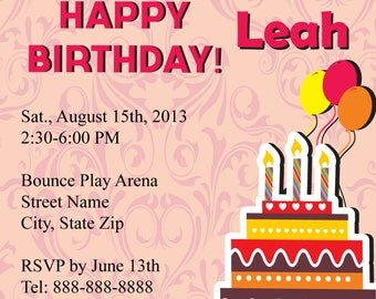 Printed Girls Birthday Invitation- Pink Birthday Cake- Pink Invitations -Girl Birthday Invitation -Birthday Invitations -Custom Invitations