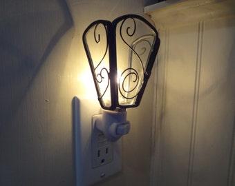 Glass Night Light / Wrought Iron Style Night light / Custom made Night Light / Nude Bulb Night Light / Opaque Glass / Coloured Glass