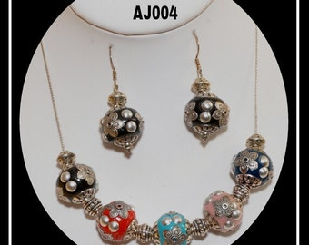 AJ004 - Handcrafted Bali Beads necklace & earrings set.
