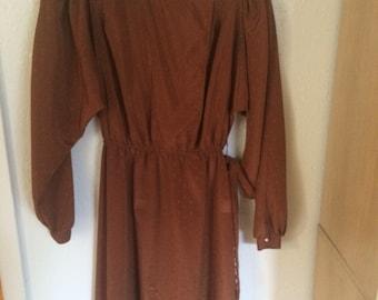 Early 1980s Jonathan Martin Copper Long Sleeve Dress