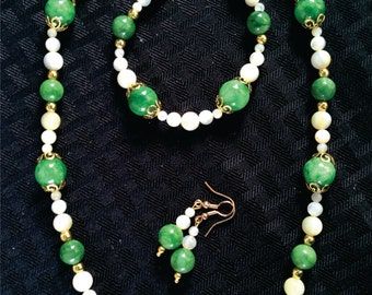 Necklace Set Jade Green and White