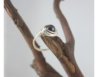 Wrapped Sterling Silver and Garnet Ring