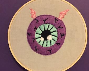 Batwing Eyeball Embroidery Hoop Art