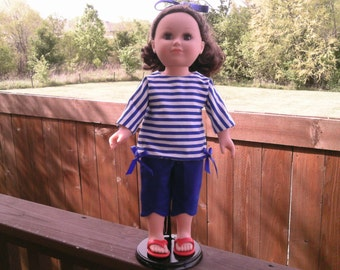 American Girl or 18 Inch Doll Clothes / 1956 Retro Royal Blue & White Stripe Top with Solid Royal Blue Capri Pants