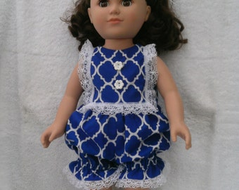 """American Girl or 18 Inch Doll Clothes / Vintage Retro 50s Style Royal Blue-White Lattice Print """"Bubble"""" Sun Suit"""